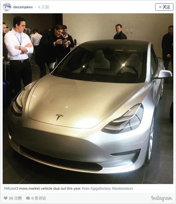 特斯拉Model 3实车再度曝光,官方称今年至少交付10万辆