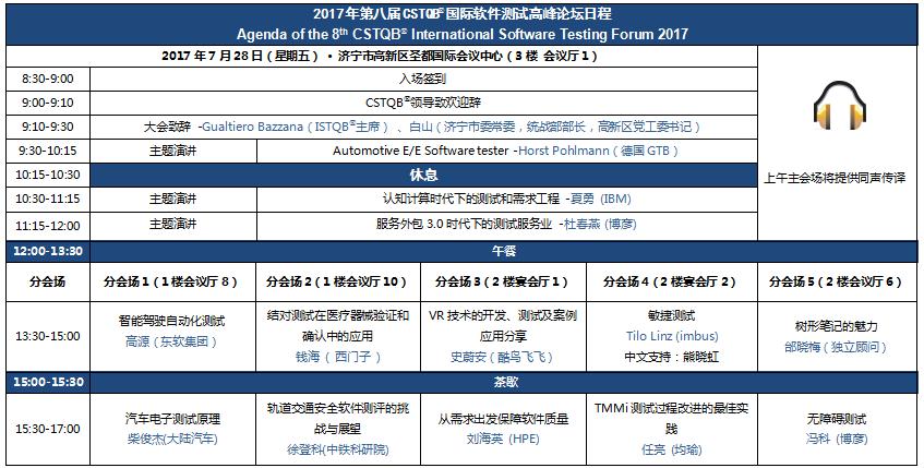 2017年第八届CSTQB®国际软件测试高峰论坛日程发布