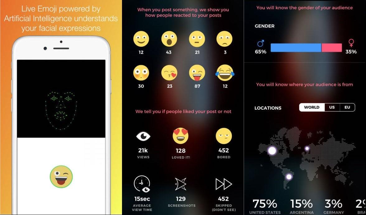 加持人脸识别与神经网络技术,该app可让真实表情实时转为表情包