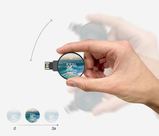 设计师研发智能U盘One-Step,配备显示屏和智能加密功能