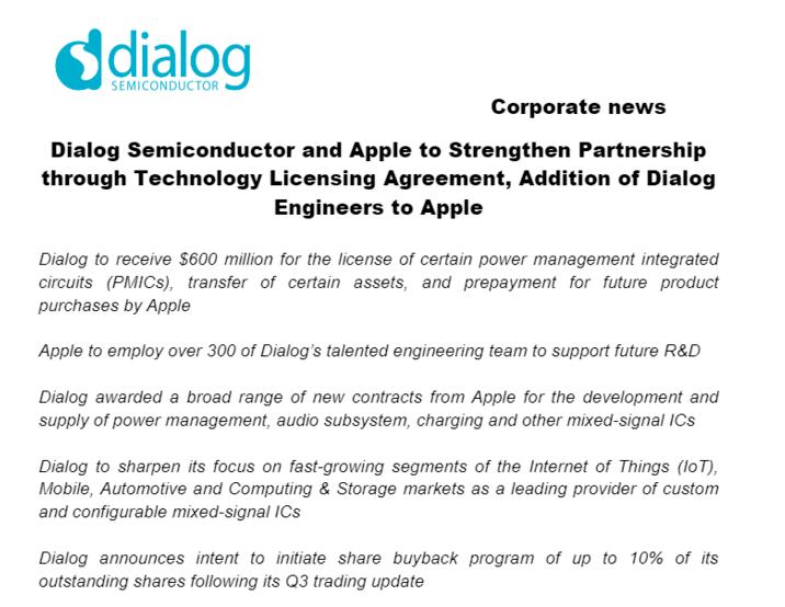苹果6亿美元收购欧洲电源芯片厂商Dialog ,进一步完善硬件产业链